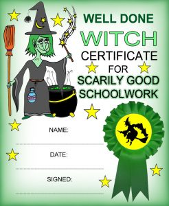 Printable witch reward certificte for scarily good schoolwork