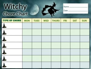 Printable witchy chore chart for kids