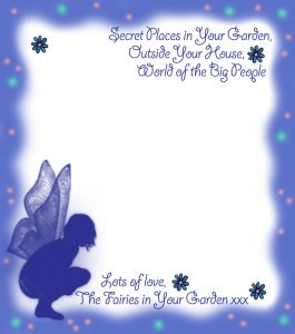 Printable blue fairy notepaper from garden fairies