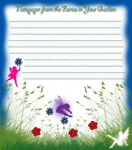 Printable fairies in your garden blank paper