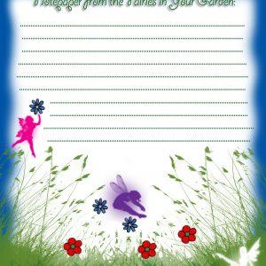 Printable fairies in your garden blank paper