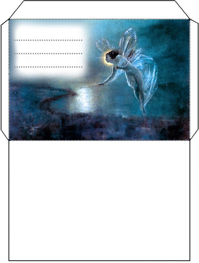 Beautiful blue fairy envelope - free to print for your child.