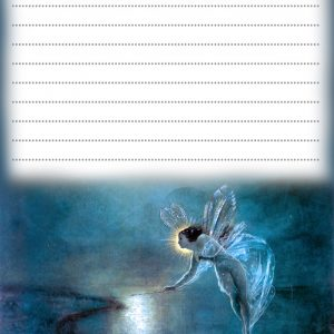 Beautiful blue fairy notepaper - free to print for your child.