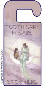 Printable door hanger asking the Tooth Fairy to stop here