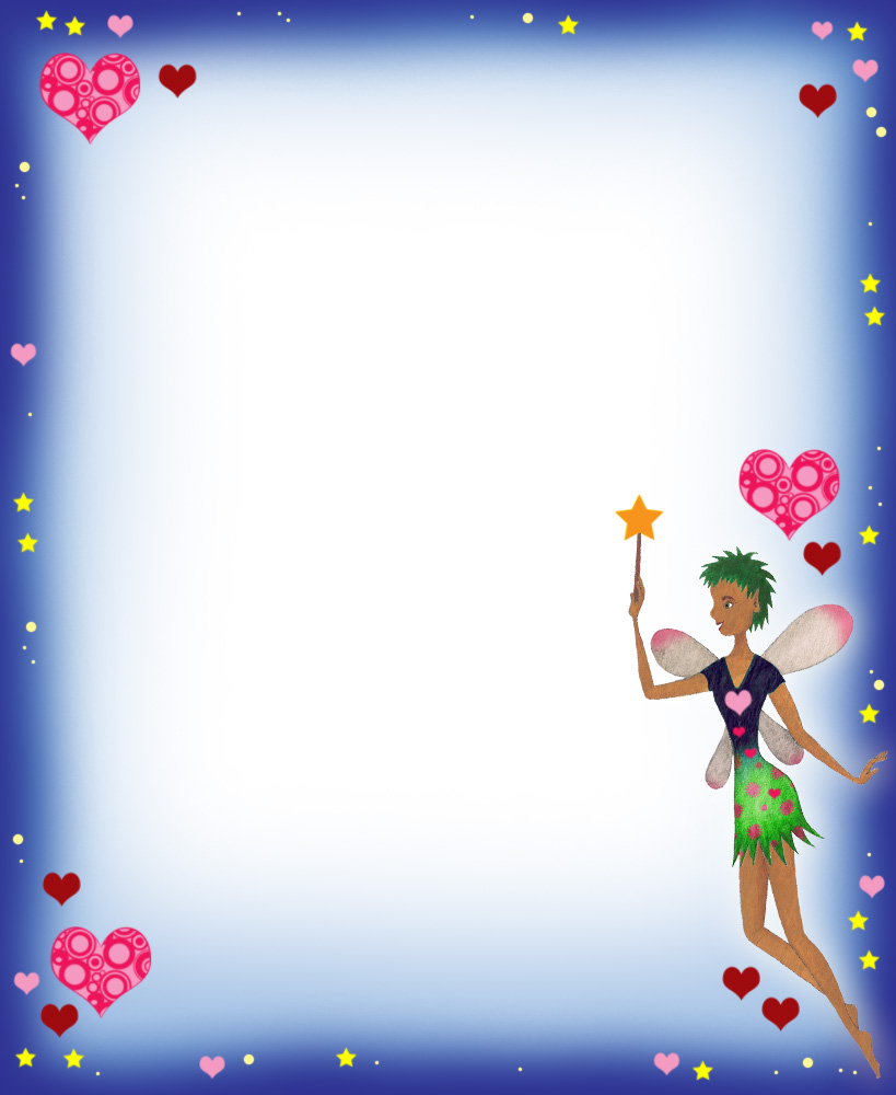 Blank Notepaper Fairy Hearts Rooftop Post Printables