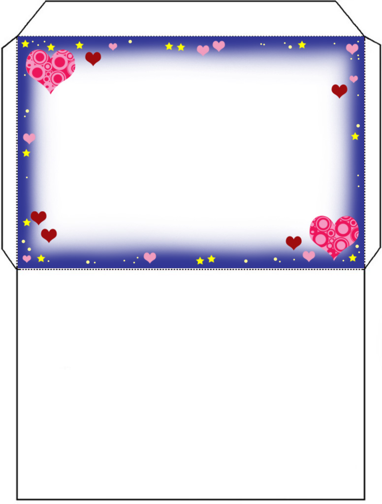 Printable envelope with a fairy and hearts design