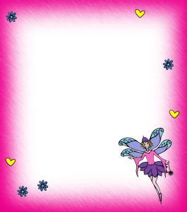 Printable pink blank fairy notepaper