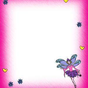 Printable pink blank fairy notepaper