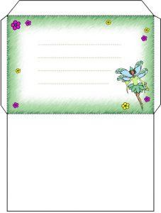 Printable green fairy envelope