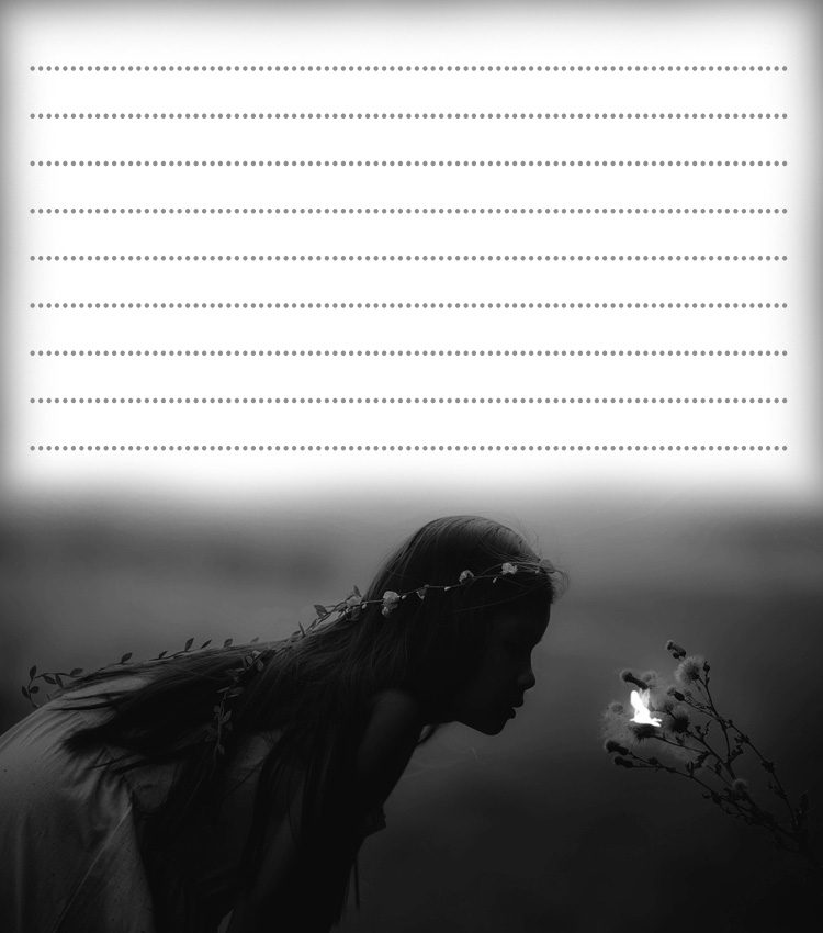 Free printable notepaper of a little girl looking at a fairy.