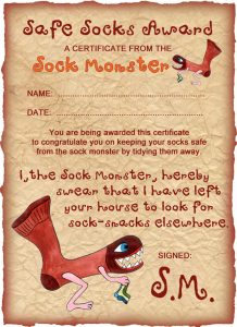 Sock Monster Certificate: Safe Socks Award
