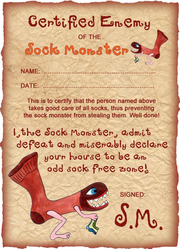 Sock Monster Certificate: Enemy of the Sock Monster