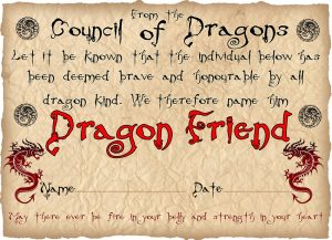 Dragon Friend Certificate (For a Boy)