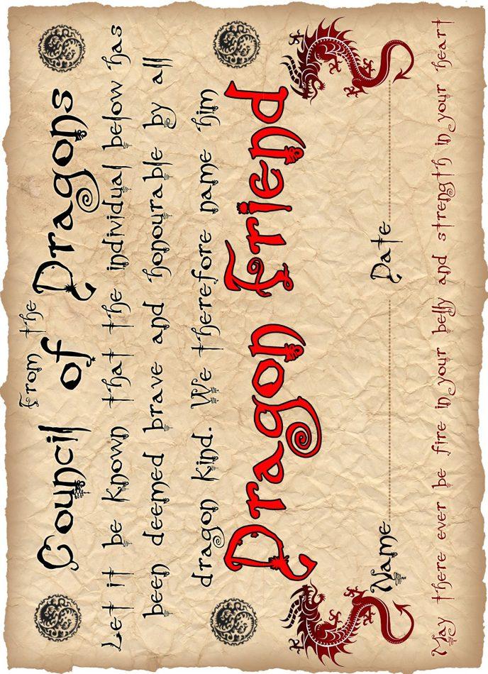Dragon Friend Certificate (For a Boy)