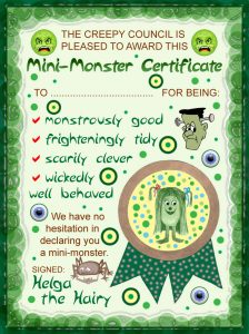 A certificate to reward good behaviour for the mini-monster in your life!