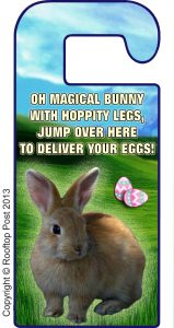 An Easter Bunny door hanger bearing a magical Easter rhyme