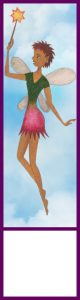 A printable bookmark of a fairy in a pink skirt flying in the sky