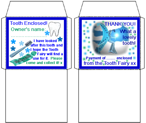 Tiny Tooth Fairy Envelopes One For A Tooth One For Money