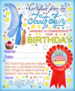 Commemorate your child's birthday with this certificate from the Tooth Fairy