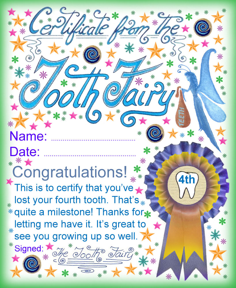 Tooth Fairy Certificate Award For Losing Your Fourth Tooth
