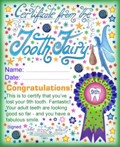 A printable certificate from the Tooth Fairy for a child who has lost a ninth tooth.