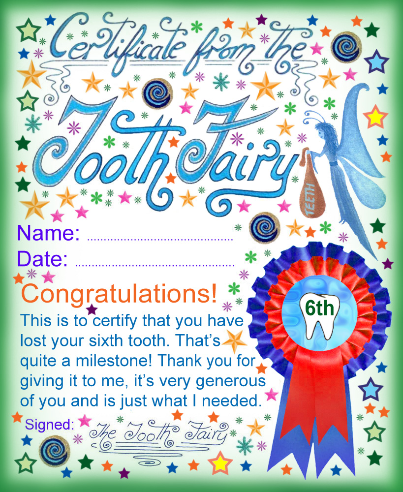 photograph relating to Printable Tooth Fairy Certificate identify Teeth Fairy Certification: Award for Squandering Your 6th Enamel