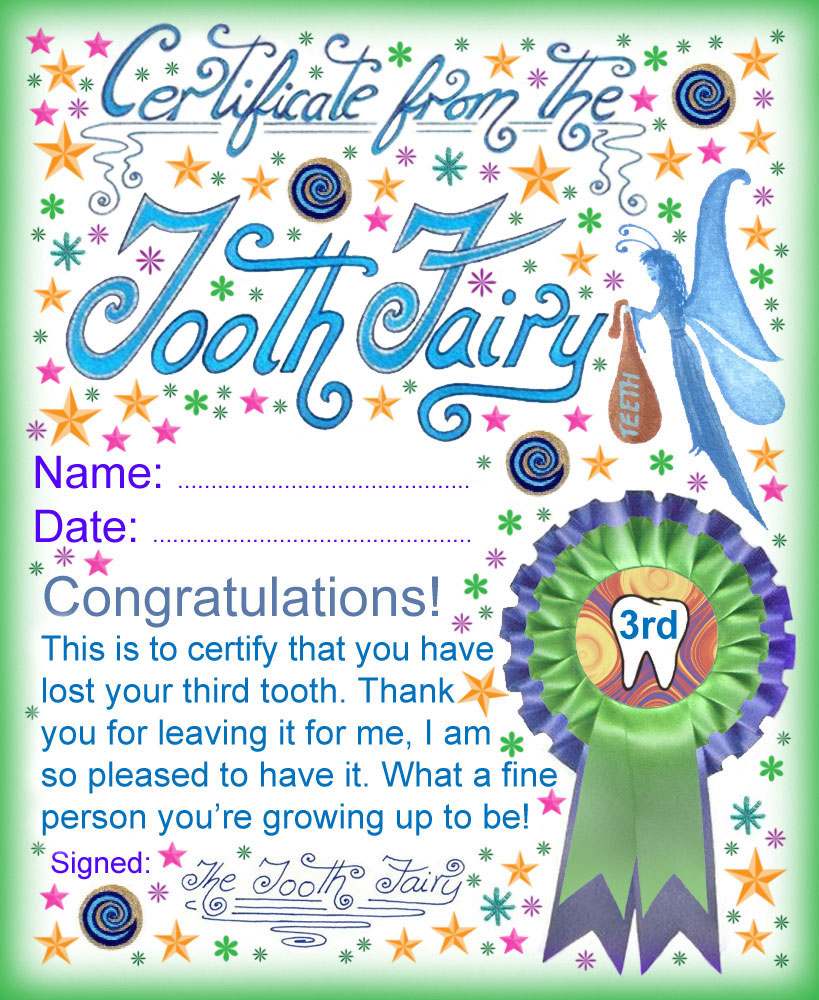 picture regarding Tooth Fairy Printable known as Enamel Fairy Certification: Award for Squandering Your 3rd Teeth