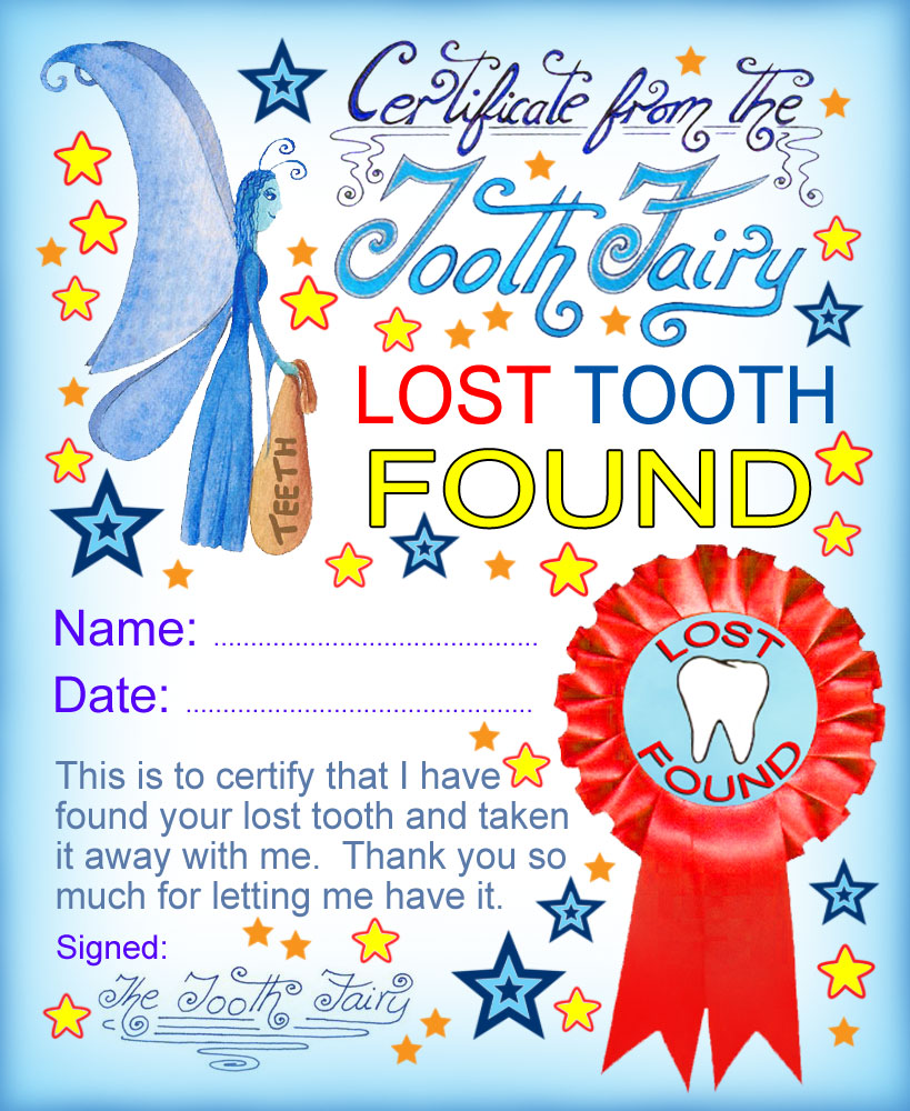 Tooth Fairy Certificate Lost Tooth Found Rooftop Post Printables