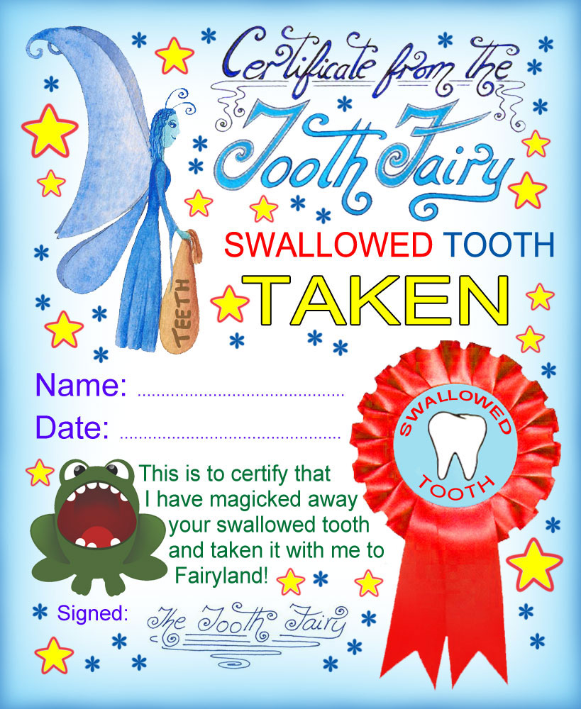 image relating to Free Printable Tooth Fairy Letters known as Enamel Fairy Certification: Swallowed Enamel Taken Rooftop