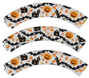 Printable cupcake wrappers with a Halloween theme.