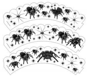 Printable paper cupcake wrappers with a spider-filled design.