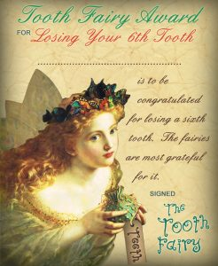 Vintage Tooth Fairy Certificate: Award for Losing Your 6th Tooth