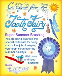 Free printable Tooth Fairy certificate for a child who has been brushing over the summer