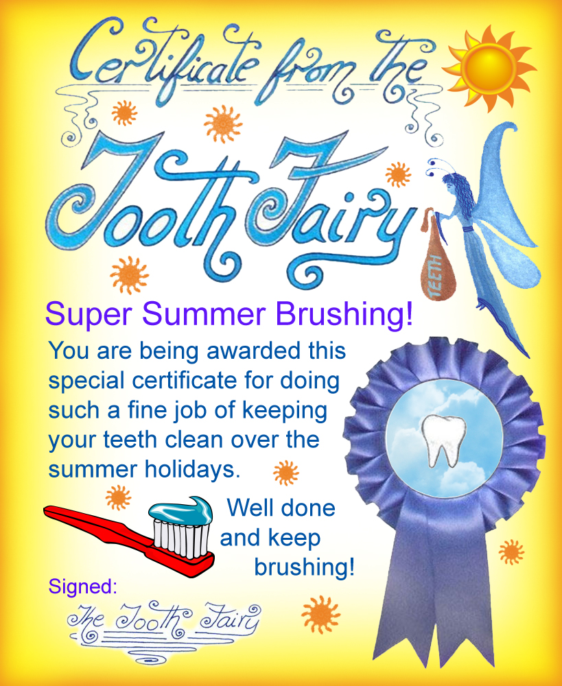 Tooth fairy certificate super summer brushing rooftop post free printable tooth fairy certificate for a child who has been brushing over the summer super summer brushing certificate 1betcityfo Image collections