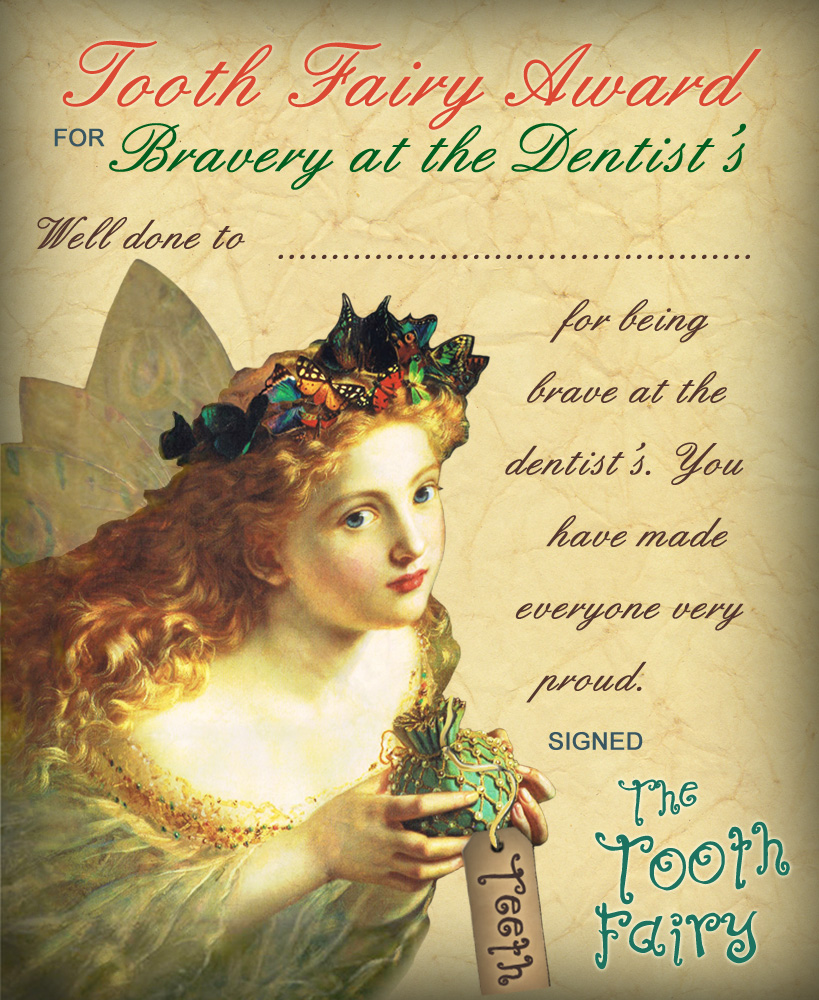 Vintage Tooth Fairy Certificate: Award for Brushing Daily