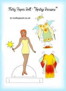 Fairy paper doll with springtime outfits