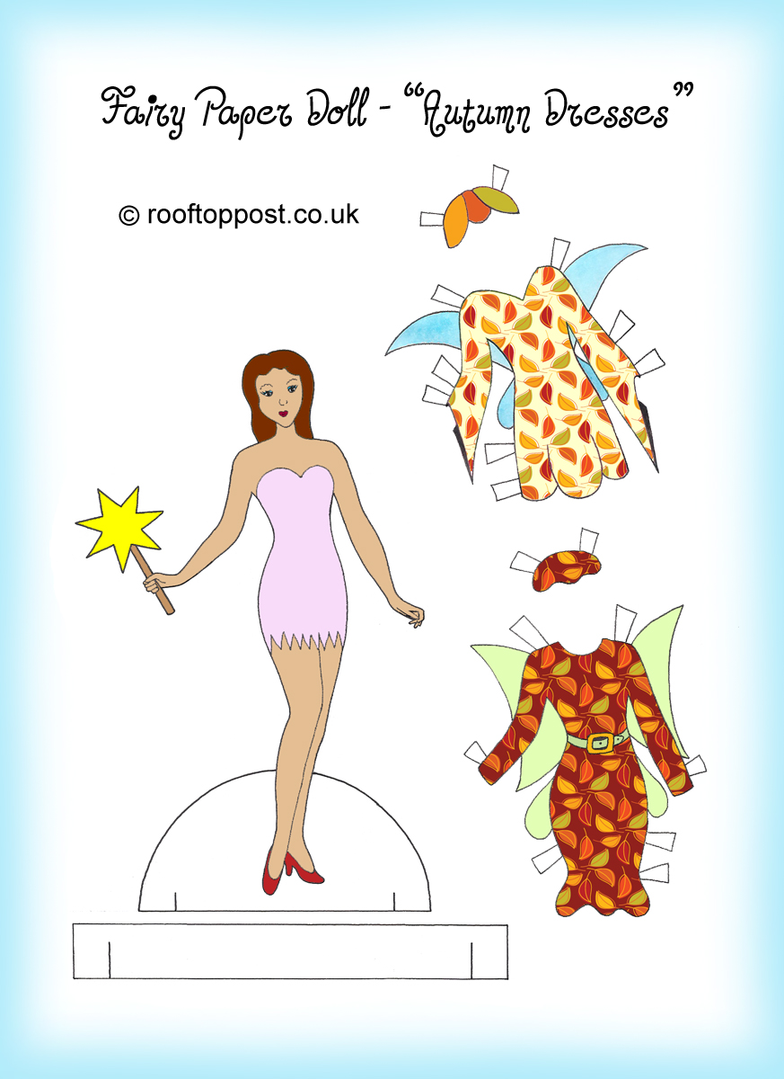 Fairy paper doll with autumn outfits