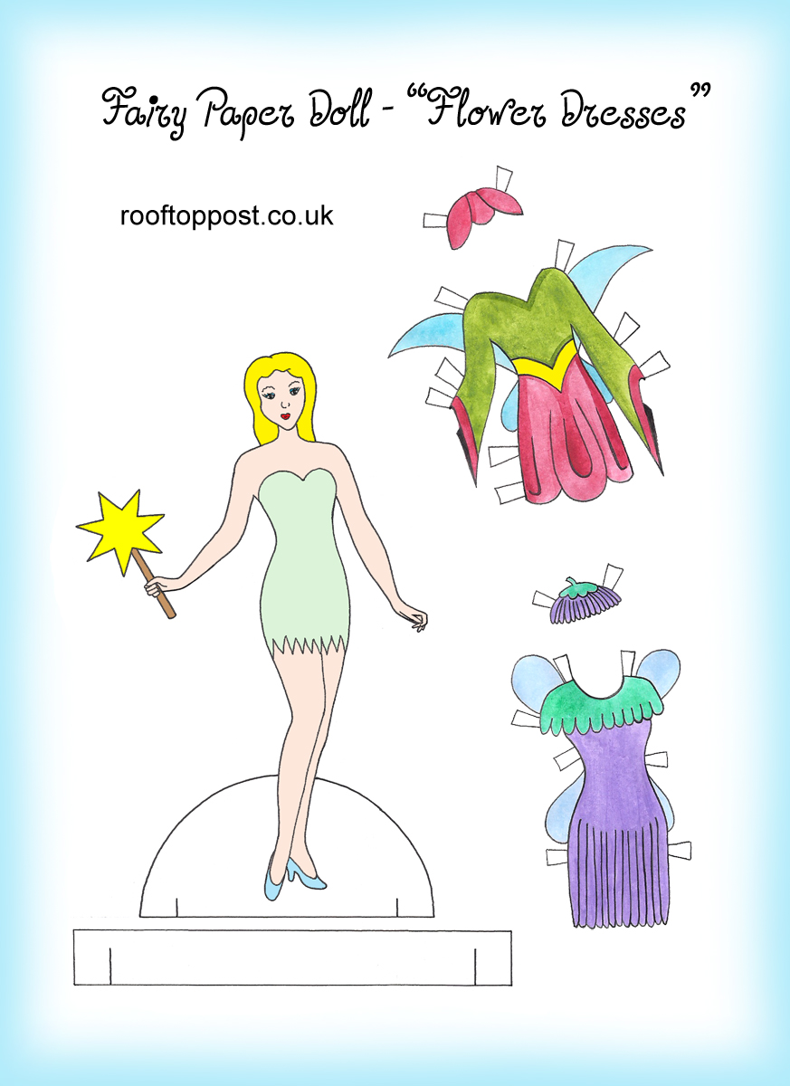 Fairy paper doll with flowery outfits