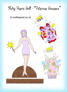 Fairy paper doll with princess dresses
