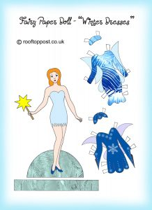 Fairy paper doll with winter outfits