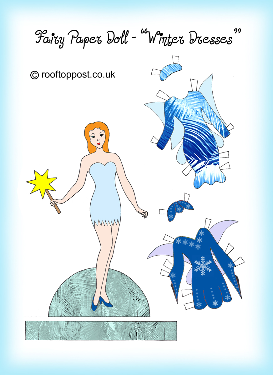 Fairy Paper Doll With Winter Dresses Rooftop Post Printables