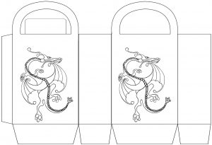 Dragon party bag to colour in