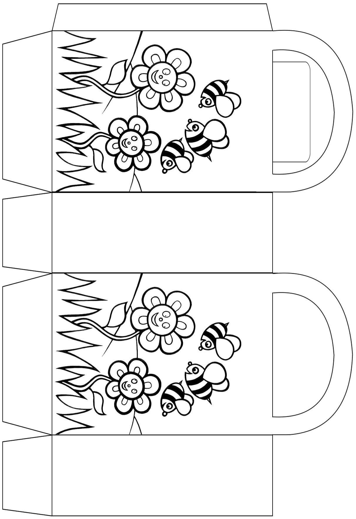 Bees and flowers party bag to colour in