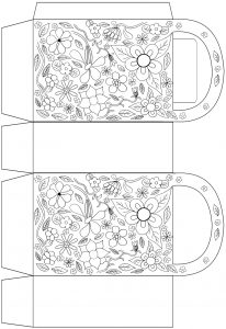 Garden flowers gift bag to colour in