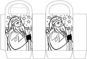 Santa Claus Christmas party bag to colour in