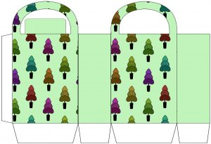 Green Christmas Trees Party Bag