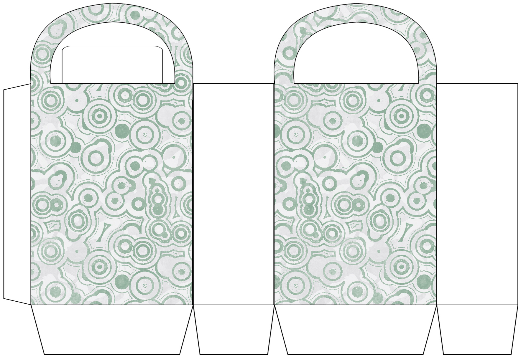 Silver Grey Circle Patterned Party Bag