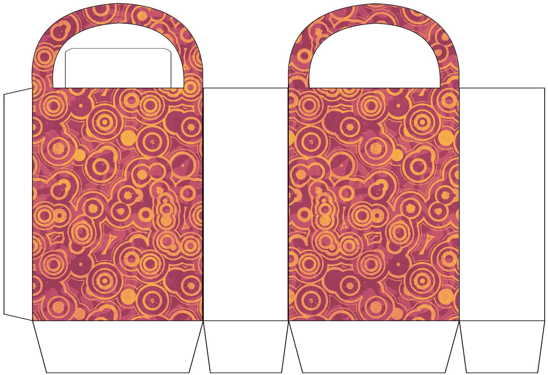 Orange Circle Patterned Party Bag