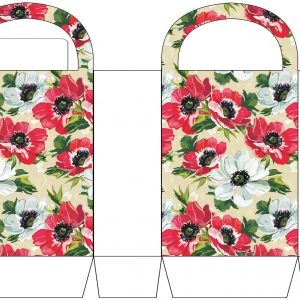 Red and White Flowers Party Bag