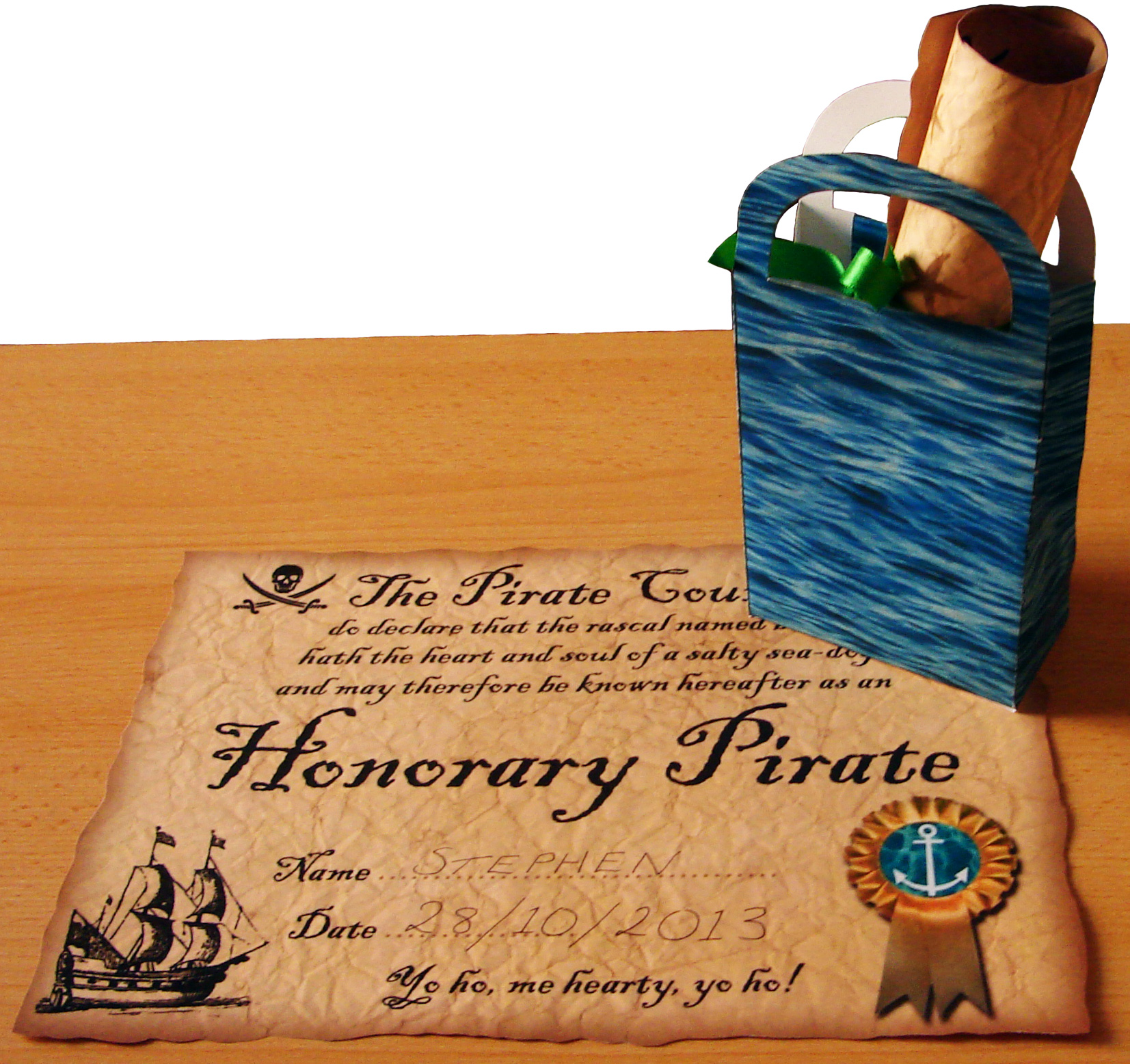 Photo of Free Pirate Certificates with Ocean Themed Bag